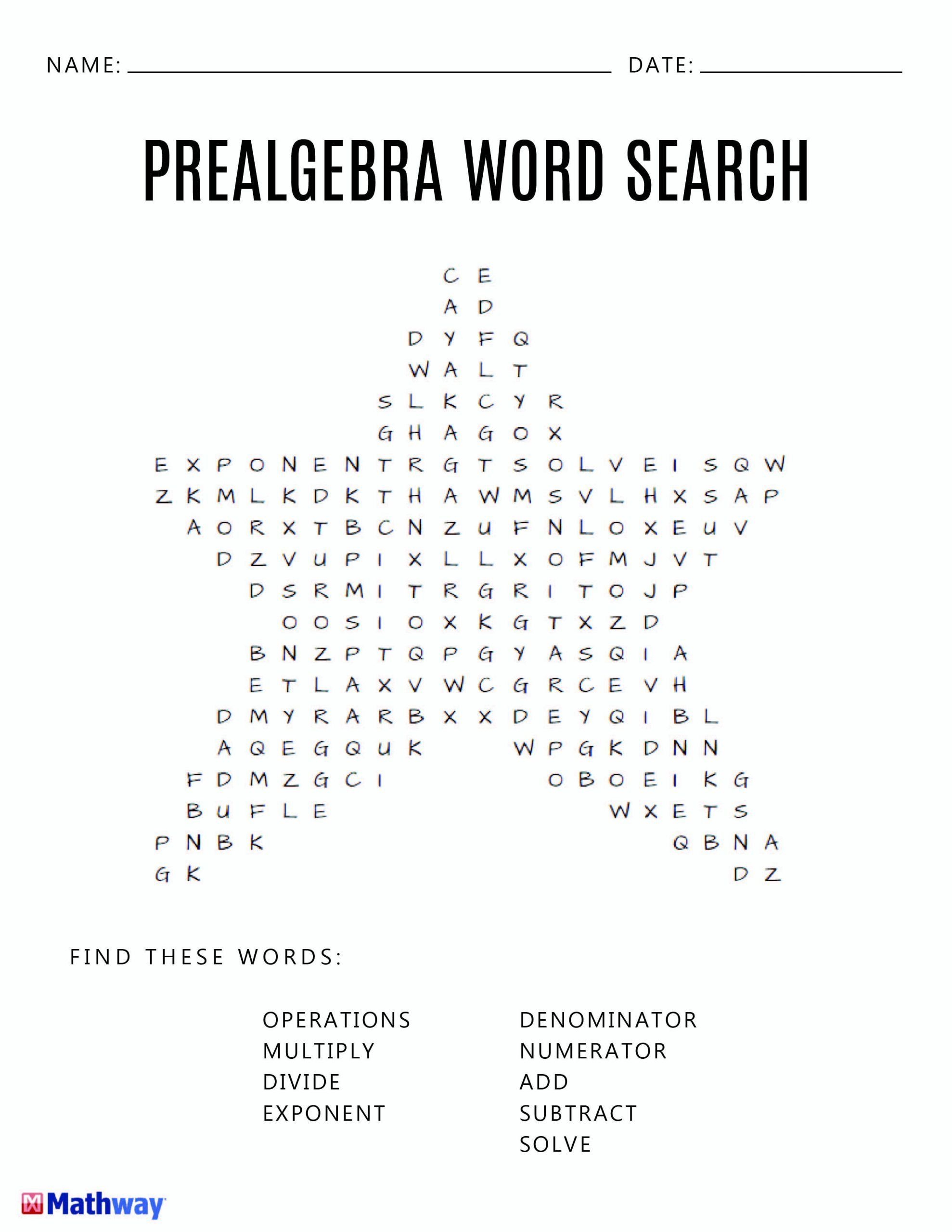 Fun Pre Algebra Worksheets Pre Algebra Star Word Search