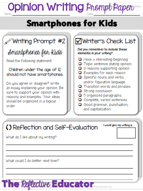 The Reflective Educator Opinion Writing Prompt Statements Opinion Writing Writing Prompts For Kids Opinion Writing Prompts