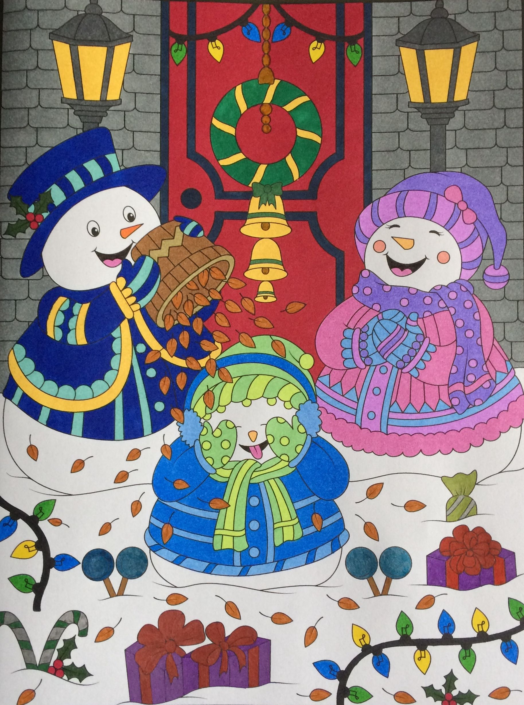 snowmen family from jade summer christmas colouring book coloured by laura summer christmas