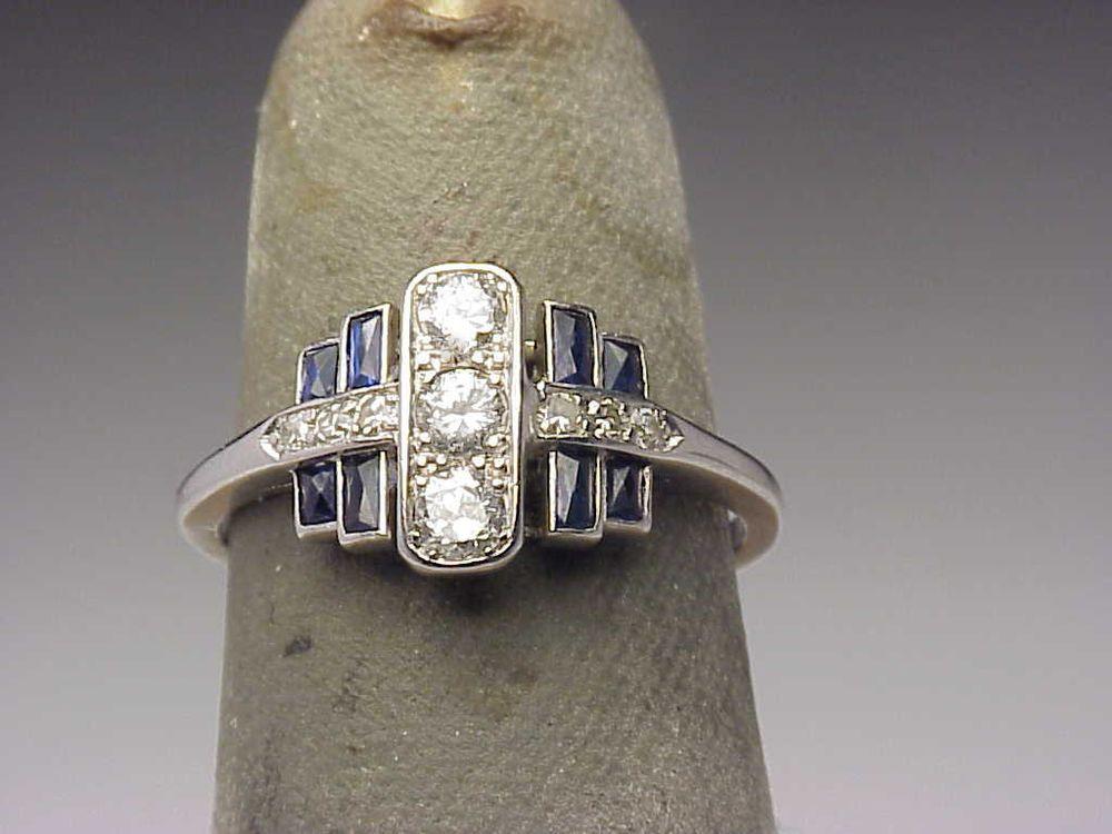 Antique platinum diamond sapphire estate art deco ring