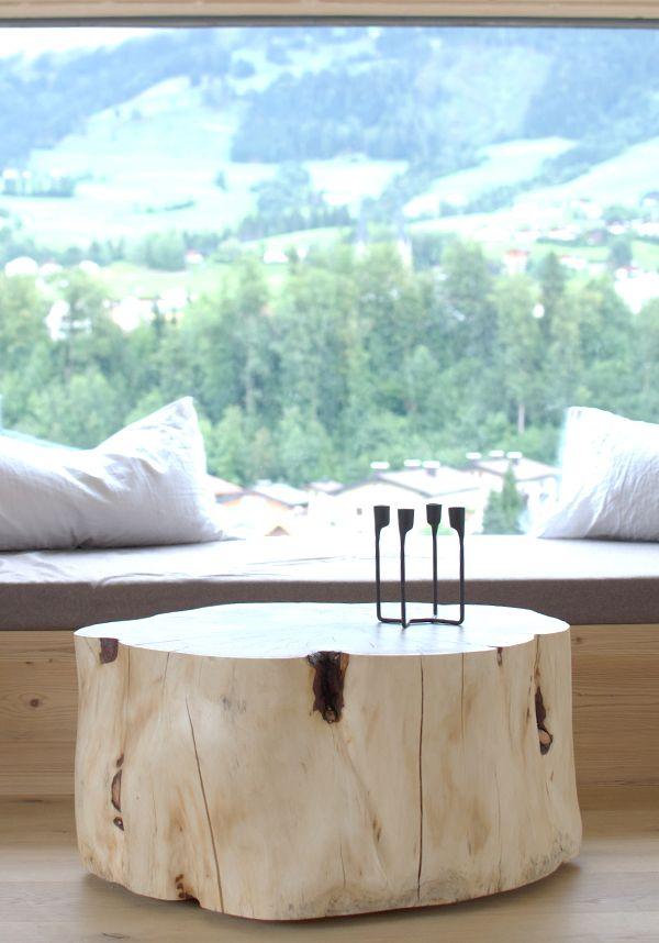 Pine table zirbenholz wohnzimmertisch auf rollen for the for Innendekoration chalet