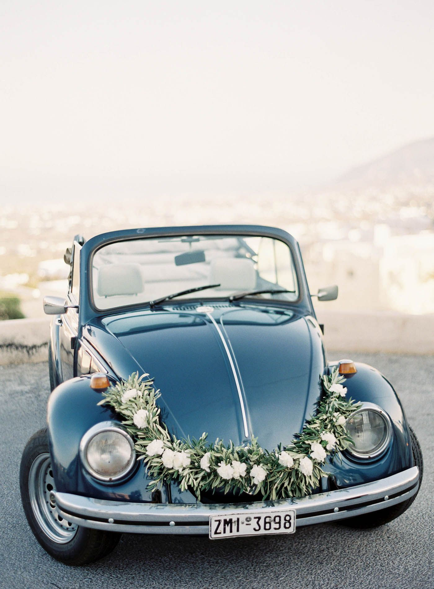 Santorini Wedding | Olive Bouquet | Reem Acra Wedding Dress ...