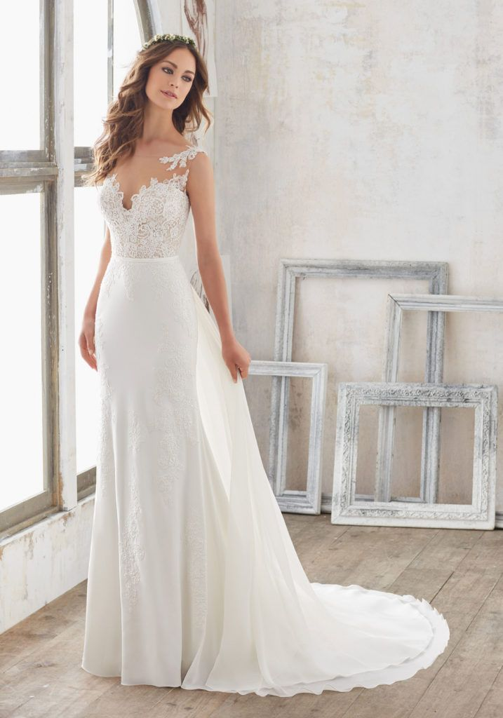 Marisol Wedding Dress | Morilee | Fit, flare wedding dress, Wedding dresses, Crepe wedding dress