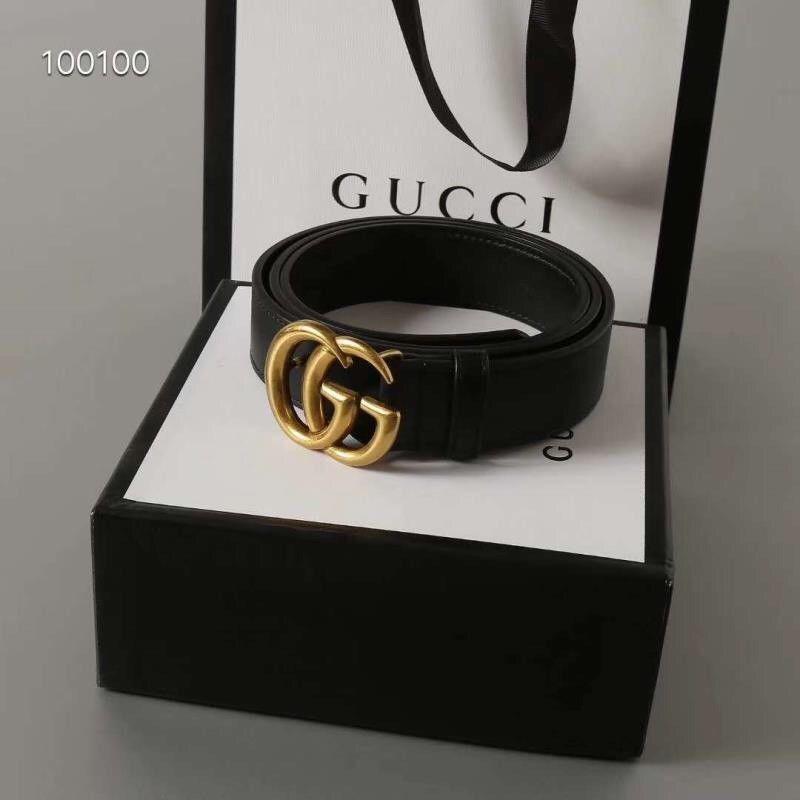 98fd2712c4b eBay  Sponsored Gold Buckle Mens GUCCI Leather Belt BLACK 110 CM   44 IN