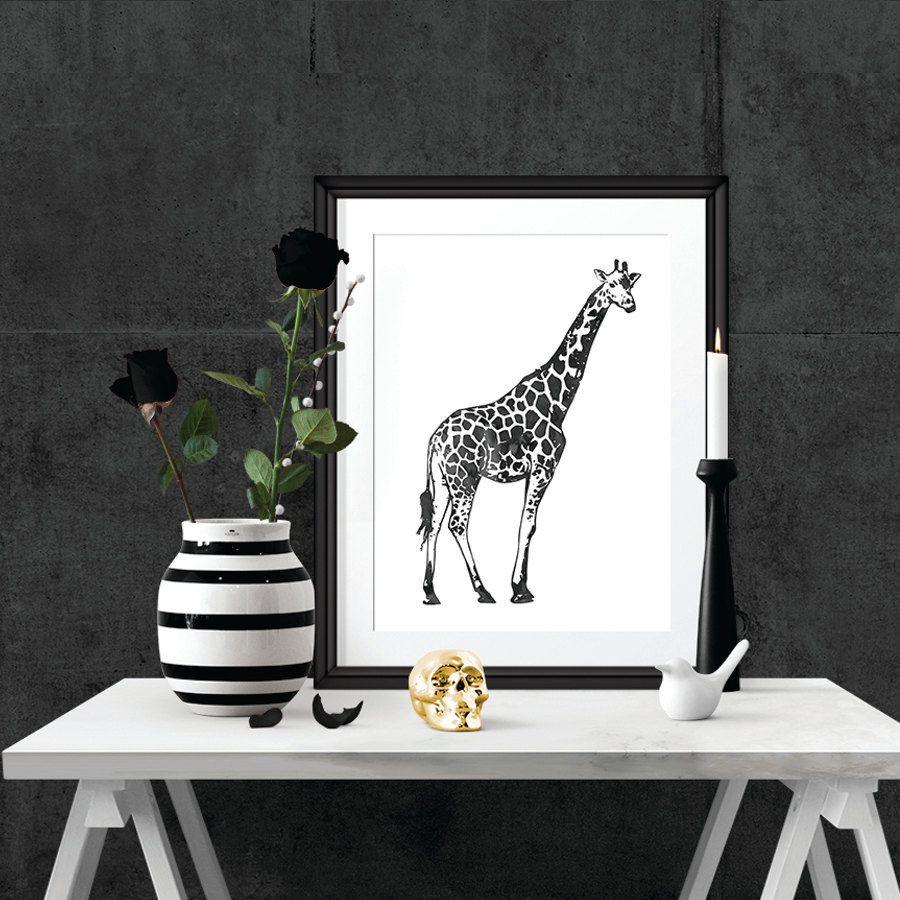 Black watercolor giraffe wall art poster printable poster