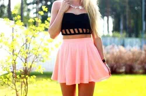 Pink skirt black top