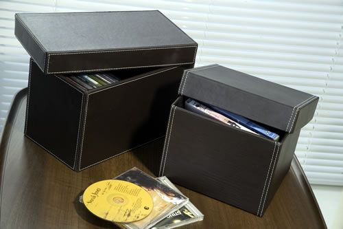 Faux Leather DVD u0026 CD Storage Boxes in Brown & Faux Leather DVD u0026 CD Storage Boxes in Brown | ???? | Pinterest ...