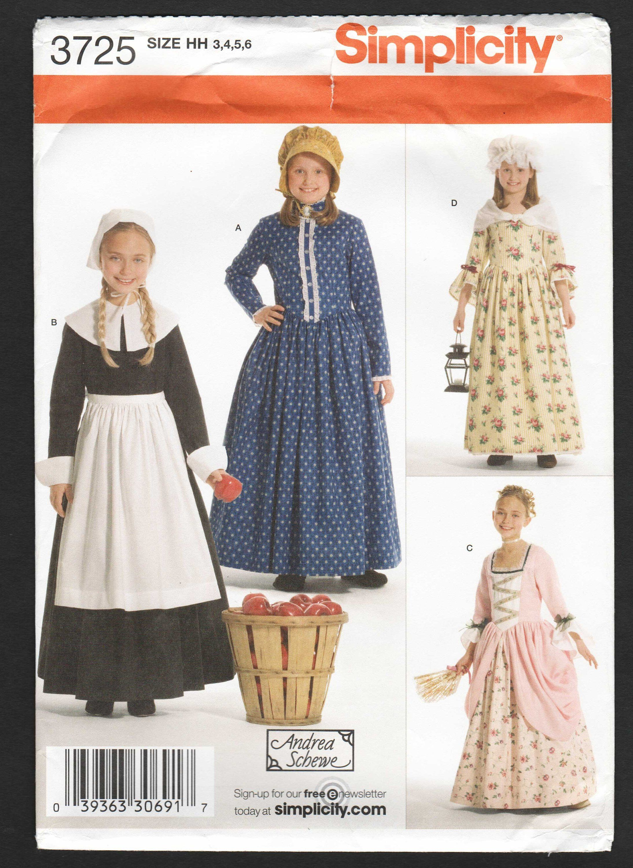 f9e91b370fc50 Girls Colonial Dress Costume Pattern Pioneer Pilgrim 18th 19th Century  Historical Dress Sewing Pattern - Simplicity 3723 Size 3 4 5 6 UNCUT