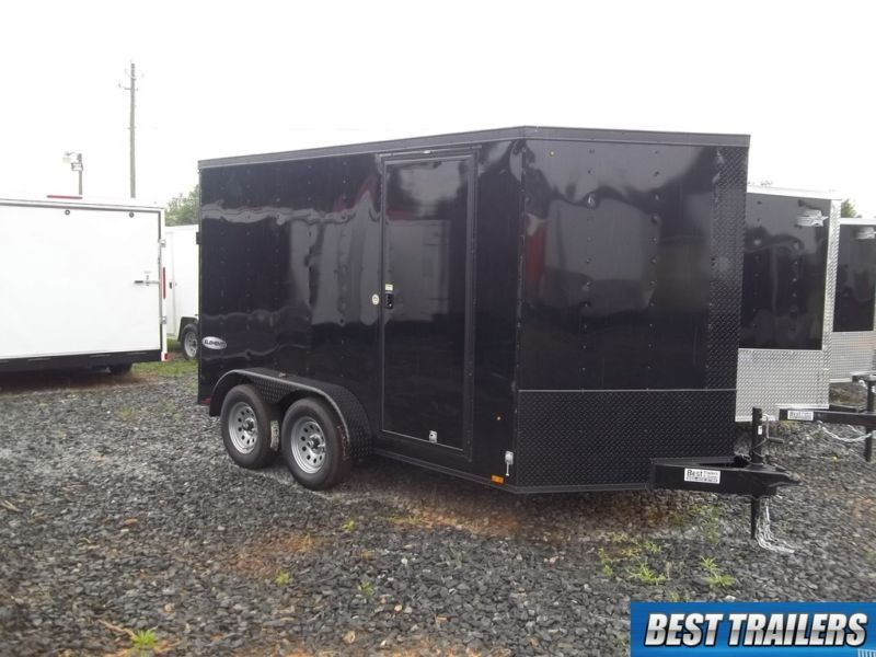2017 7x12 blackout enclosed trailer double motorcycle