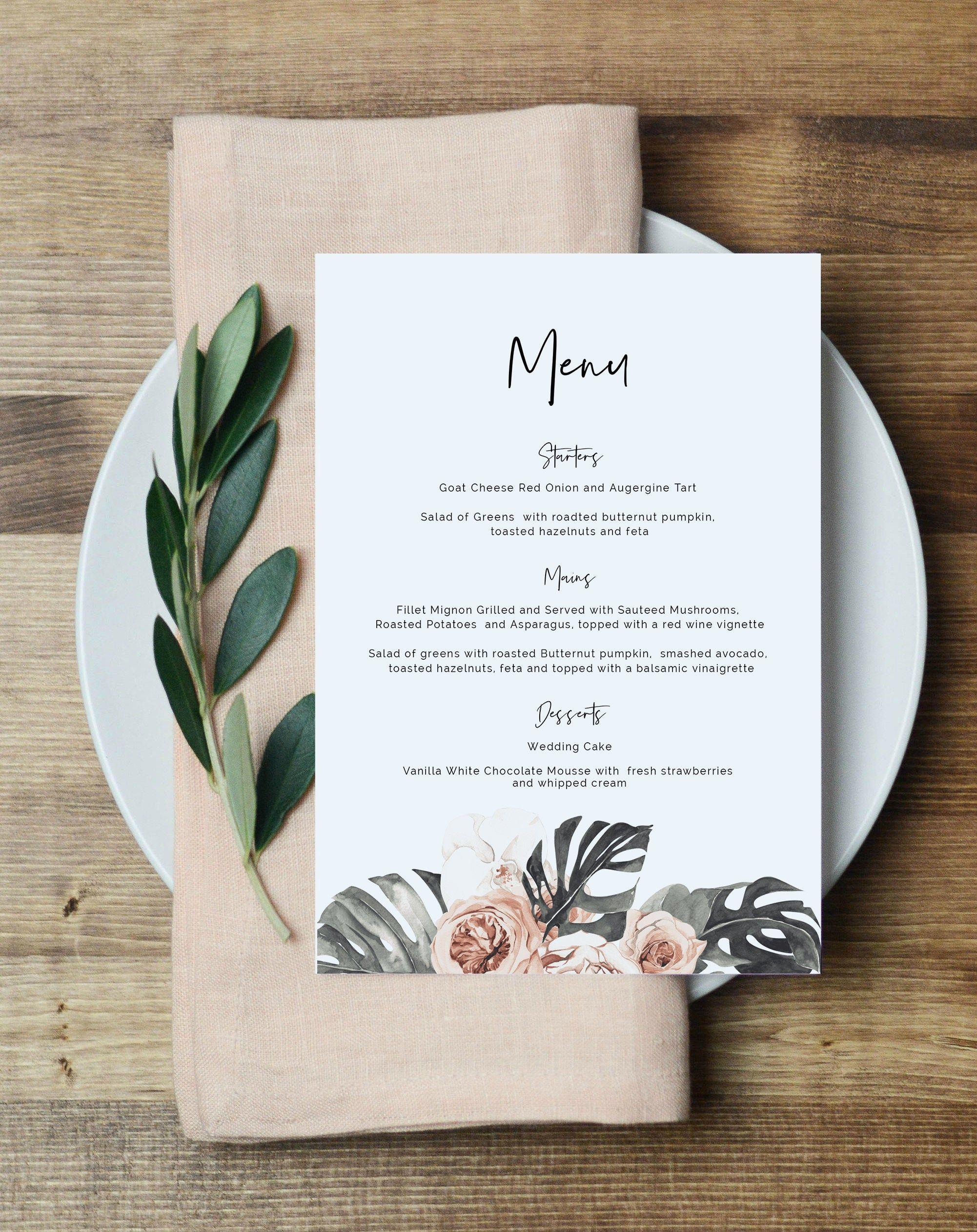 Tropical Menu Card Blush Menu Printable Menu Sign Etsy In 2020 Menu Card Template Menu Cards Printable Menu