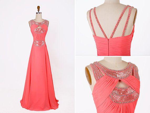 Coral Beading Long Prom Dress/Chiffon Party Dress/Flowy floor length ...