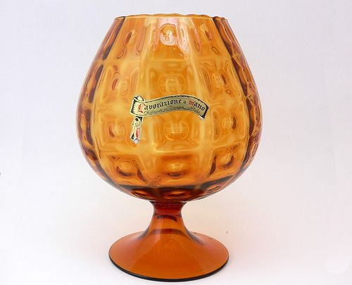 Mid Century Italian Art Glass Goblet Vase - 2  Fabbricato in Toscana, #TuscanyAgriturismoGiratola