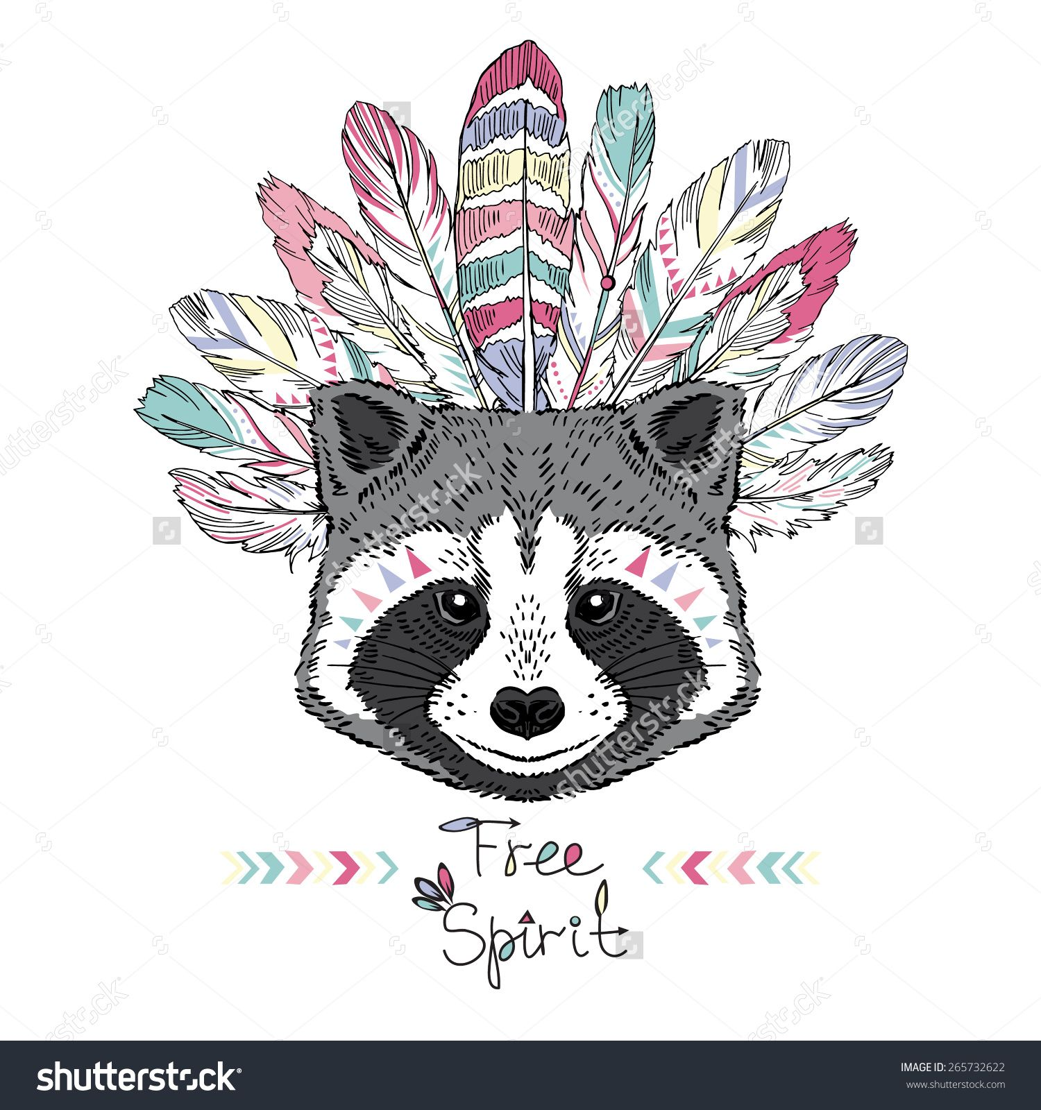 Raccoon Aztec Style Hand Drawn Animal Illustration Native American Poster T Shirt