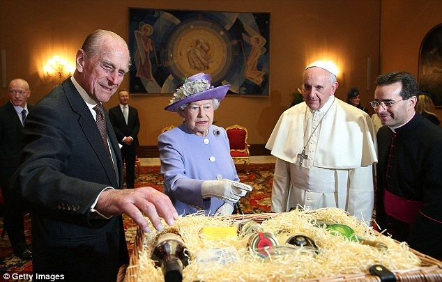 The Queen and Prince Philip with Pope Francis, during their one-day visit to Rome