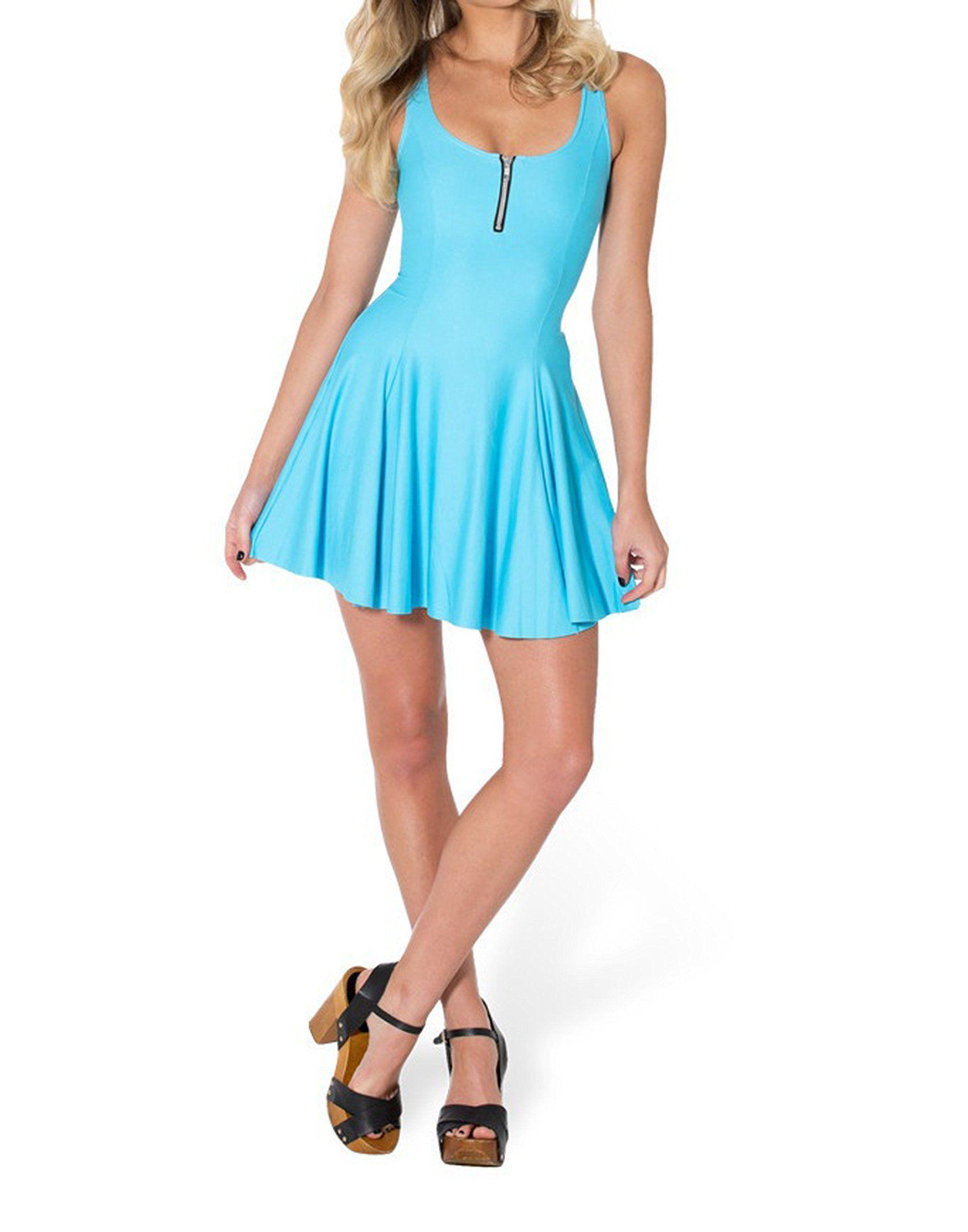 SOTW Summer Pleated Above-Knee Sexy Spandex Sleeveless Mini Evil Zip Skater Dress, Matte Light Blue, S