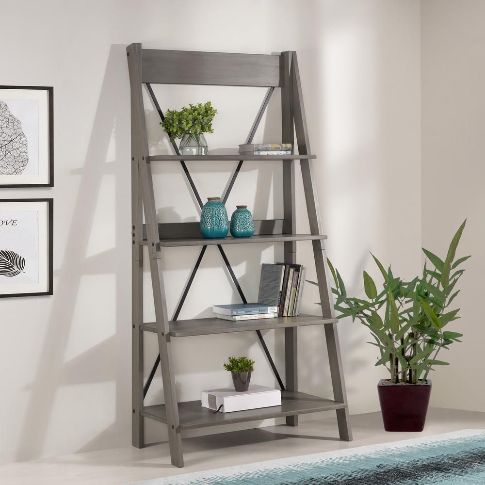 Welwick Designs Grey Solid Wood 4 Shelf Ladder Bookshelf In 2020 Ladder Bookshelf Modern Shelving Shelves