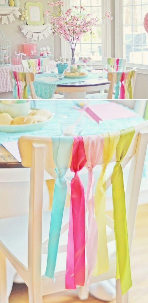 simple way to decorate chairs for a party easter spring party via karaspartyideascom - Spring Party Decorating Ideas