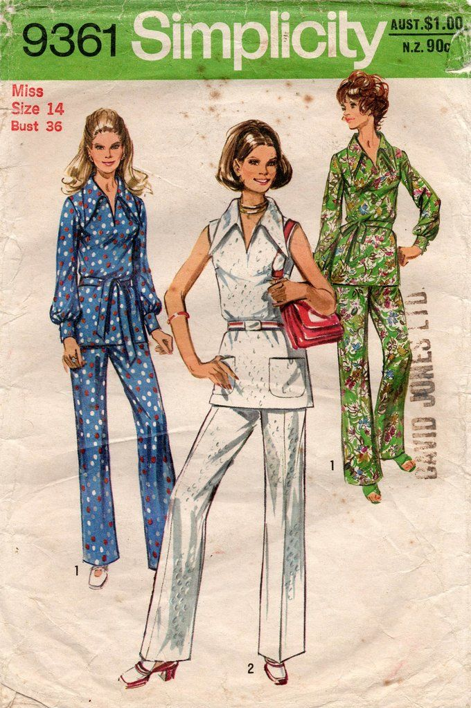 Simplicity 9361 Womens Wide Collar Tunic Top & Flared Pants 1970s Vintage Sewing Pattern Size 14 Bust 36 inches #blousesewingpattern