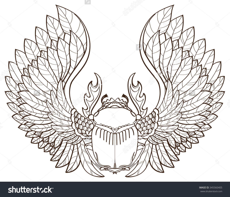 Stock Vector Scarab Beetle Sketch Symbol Of Pharaoh Tattoo 345560405