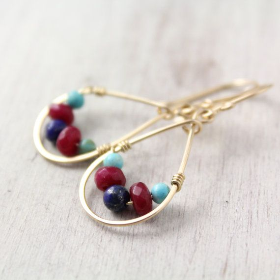Royal Teardrops of Turquoise Ruby and Lapis Gold by SDJewelry