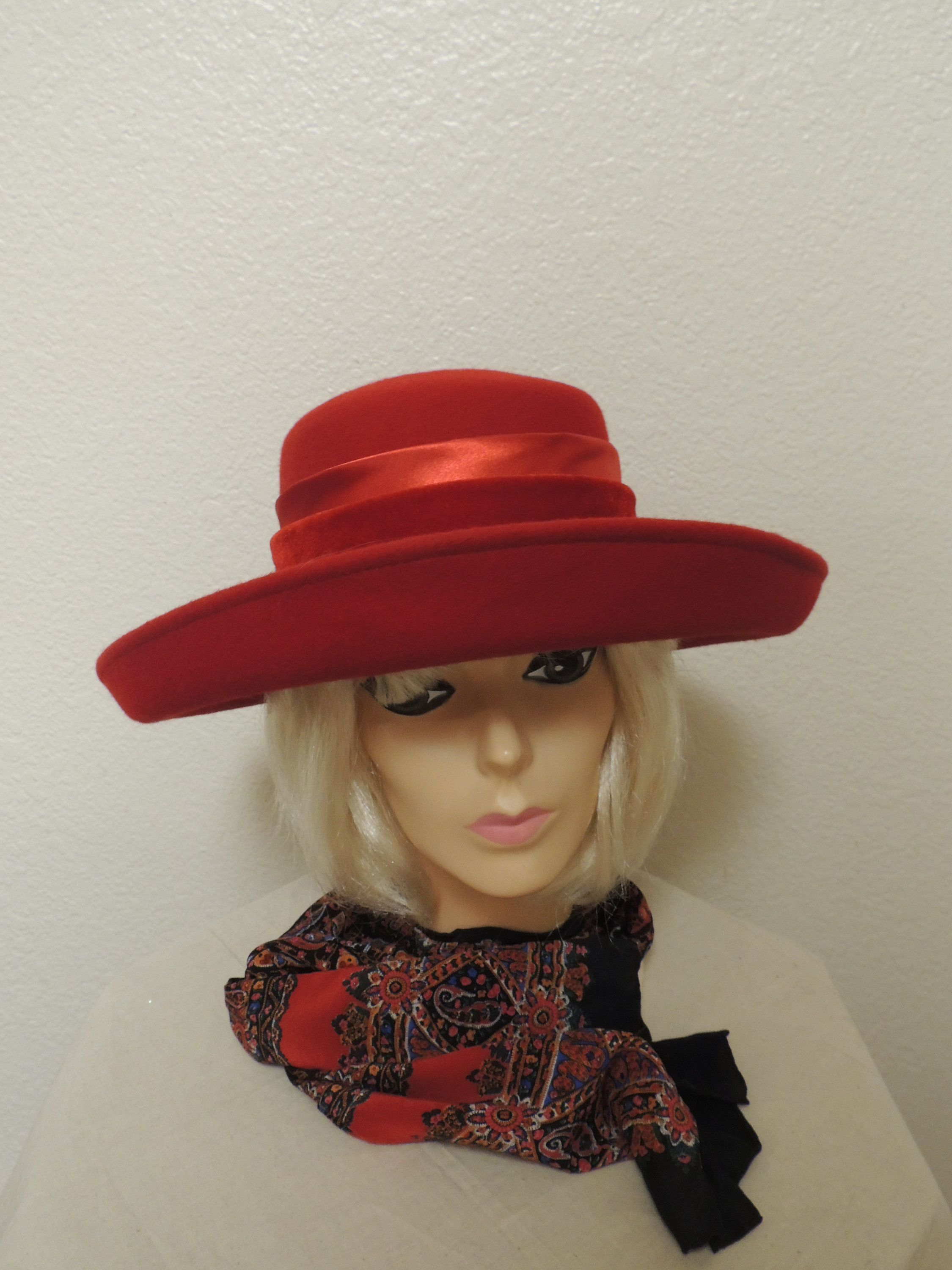 ec910b30 Vintage Handmade Red felt Red Hat Society SCALA one size fits all Satin  ribbon HAT by TheOwlandtheCrow on Etsy
