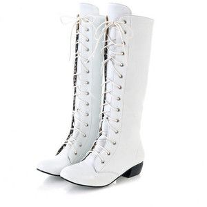 White Women's PU Leather Low Heel Lace Up Zip Knee High Boot ...