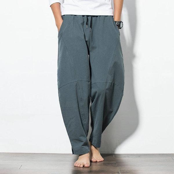Men Cotton Hot Loose Light weight straight trouser Pant Hemp Comfort Chz new