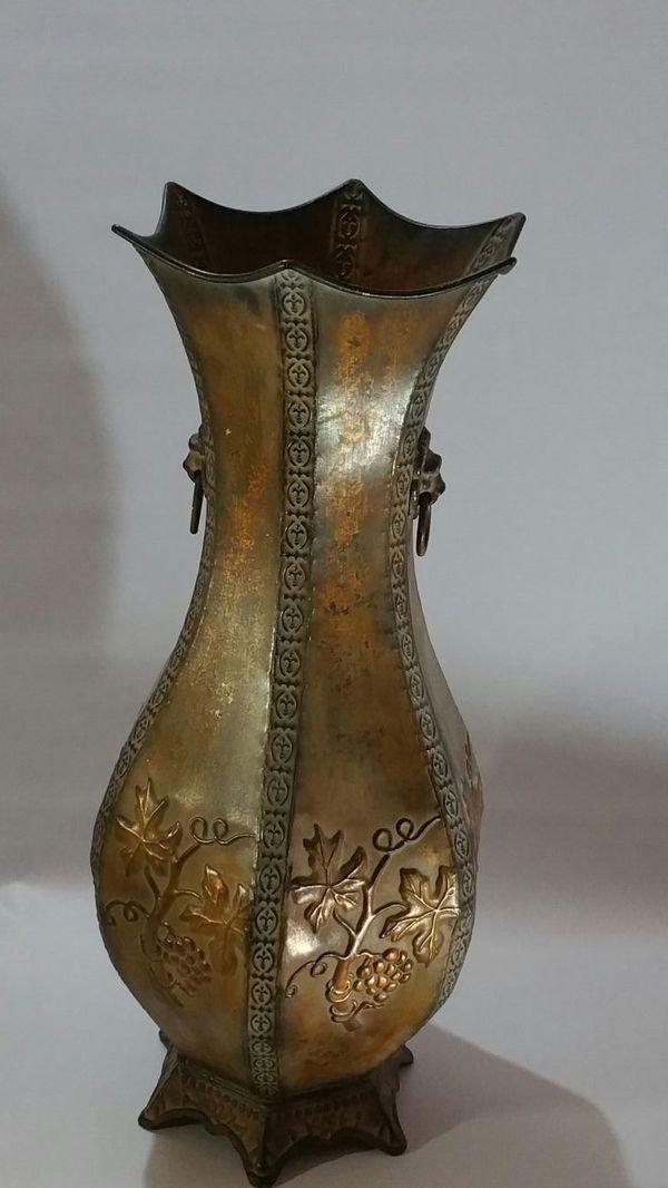 Two Tall Kirkland Metal Vases Grapevine Print Golden Bronze Geenish