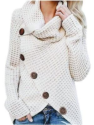 Long-sleeved sweater five-button high-necked pullo