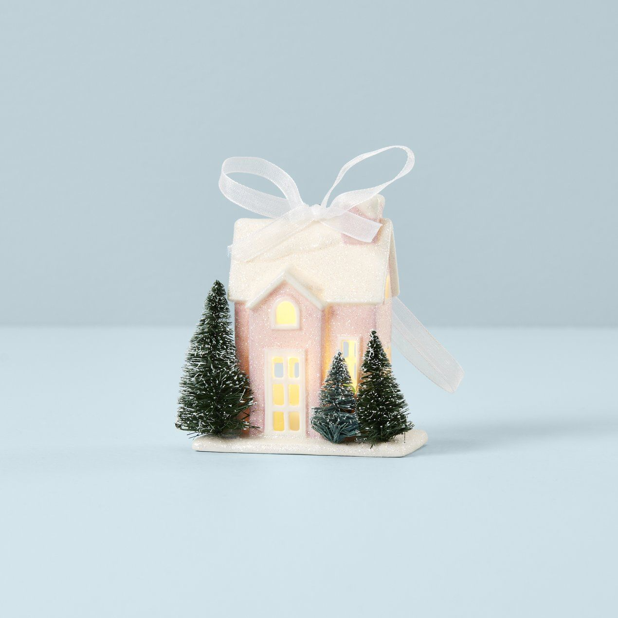 Lenox Babys First Christmas Ornament 2021 Light Up Bungalow House Ornament In 2021 House Ornaments Pink Ornament How To Make Ornaments