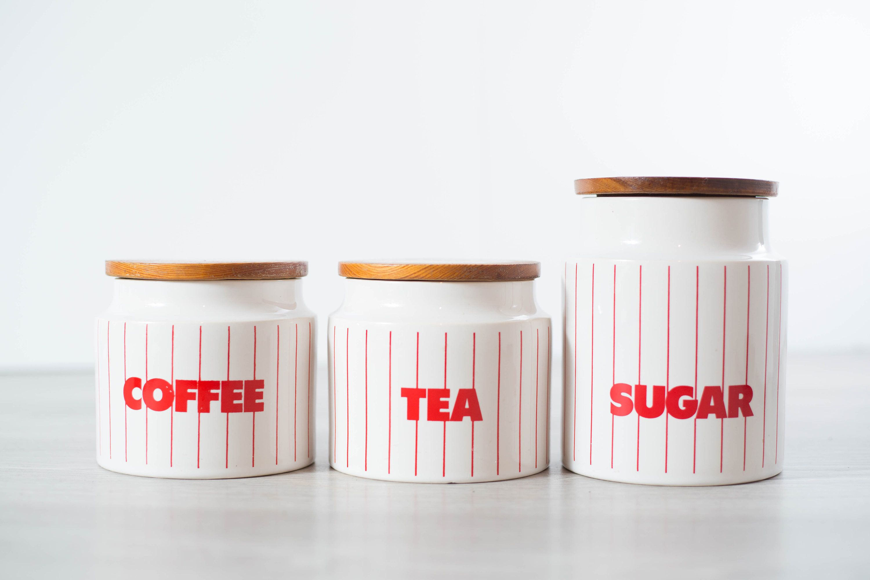 Vintage Canister Set / coffee, tea, sugar canisters / Diner Style ...