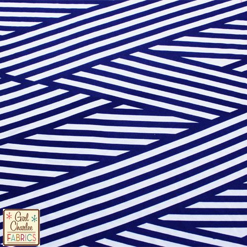 010383e1f0e Blue Nautical Flag Stripe on White Jersey Rayon Spandex Knit Fabric :: $6.50