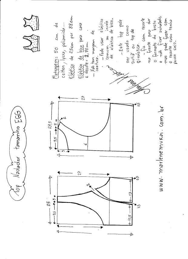 Patrón de Top para Gimnasio | moldes ropa interior | Sewing, Sewing ...