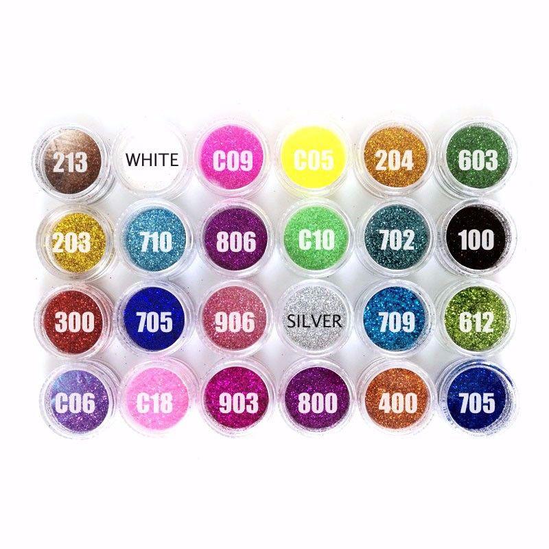 24 컬러 Nailart 반짝이 폴란드어 홀로그램 분말 네일 반짝이 분말 컬러 아크릴 분말 손톱 반짝이 네일 먼지 ZJ1317