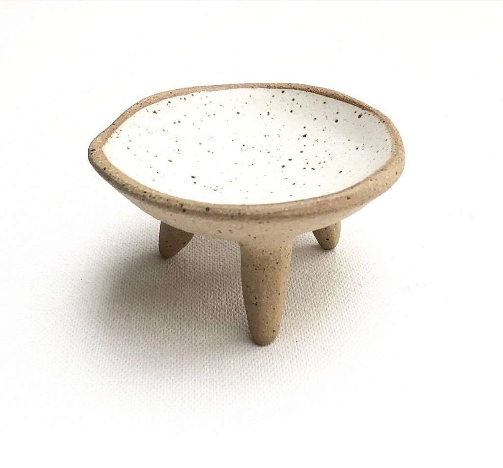 Photo of Speckled Footed Trinket Dish/ Matte White