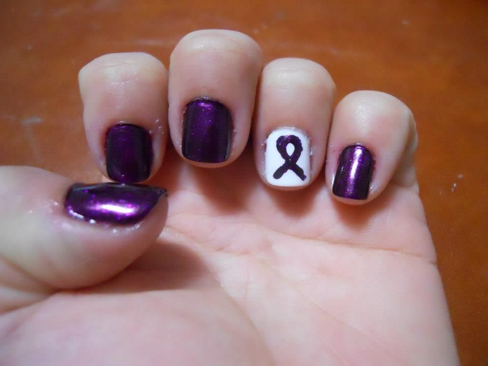 Pancreatic Cancer Alzheimer S Advanced Migraines Or Fibromyalgia Nail Art By Stephanie Watkins Purple
