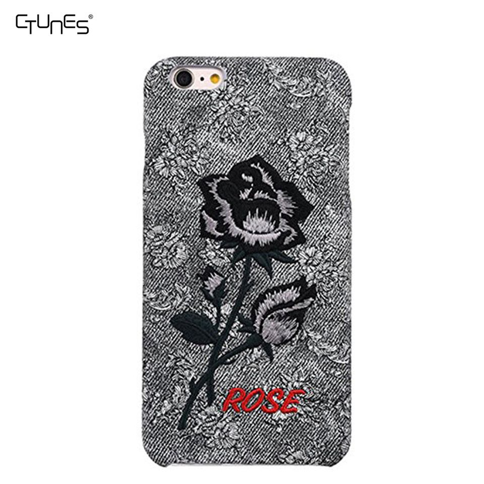 07c4b242d6 For Embroidery Case iPhone 6, Luxury Scratch Resistant Premium Cotton Canvas  Embroidery Rose Case For iPhone 6S Plus