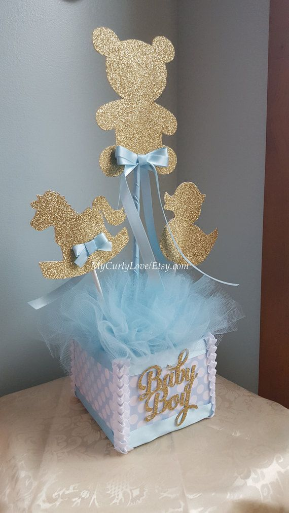 Boy Baby Shower Centerpiece Gold And Blue