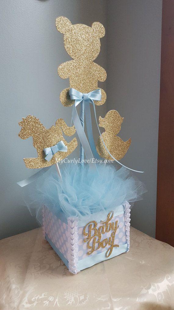 Boy Baby Shower Centerpiece Gold And Baby Blue Baby Shower Boy