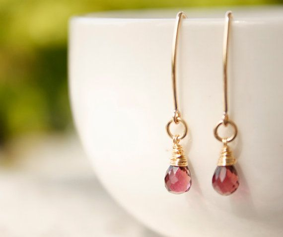 Pink Tourmaline Earrings  14KT Gold Fill  Hot Pink by OhKuol, $45.00
