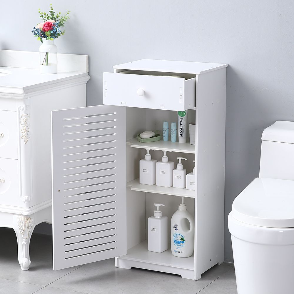 Bathroom Cabinet Organizers Urhomepro Storage Cabinet W Doors Drawer And Shelves Bathroom Floor Standing Cabinet Kitchen Cupboard Pvc Storage Cabinet Boo In 2020 Wooden Bathroom Storage Bathroom Floor Cabinets Kitchen Cabinet Storage
