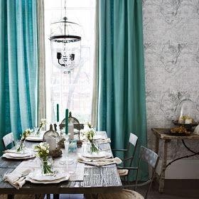 من الالوان المتناغمه جداا في الديكور اللون التركواز مع الرمادي فالتركواز يضفي حيا Dining Room Curtains Curtains Living Room Turquoise Curtains Living Room