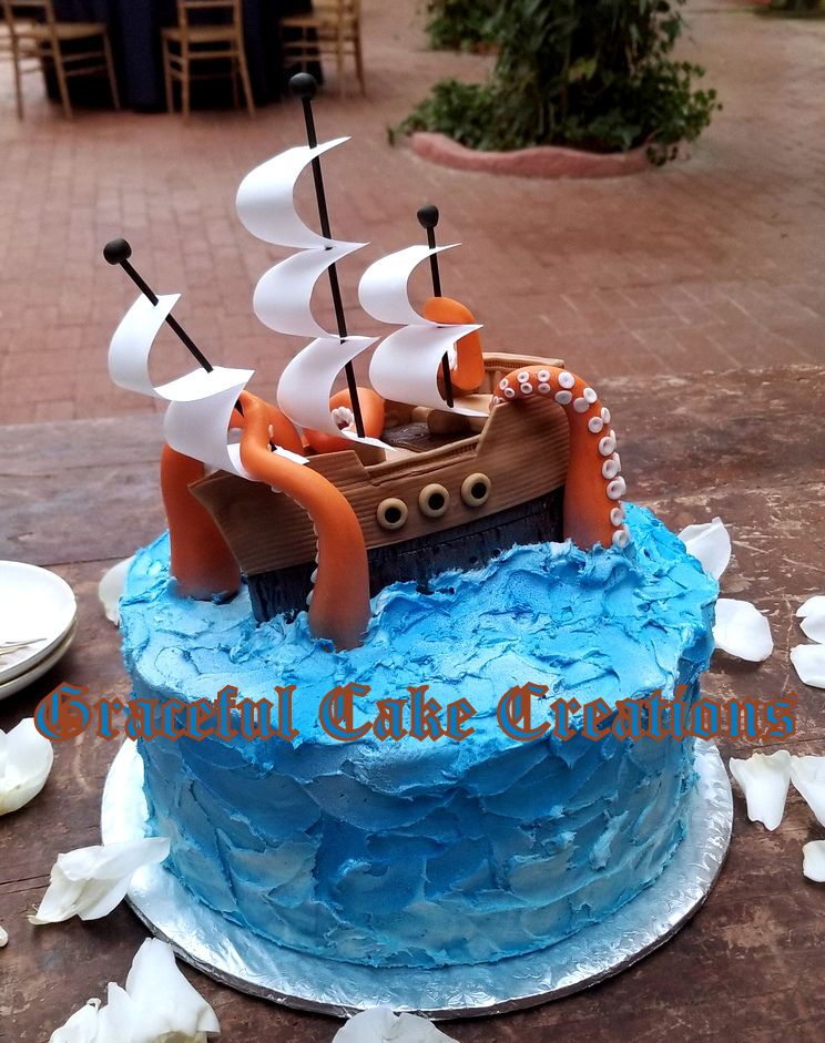 Miraculous Pirate Ship With Kraken Grooms Cake Pirate Birthday Cake Funny Birthday Cards Online Kookostrdamsfinfo