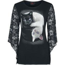 Cat shirts for women -  Spiral Ying Yang Cats long-sleeved shirt Spiral DirectSpiral Direct  - #CAT #hiptatto #shirts #tattohand #wavetatto #wolftatto #Women