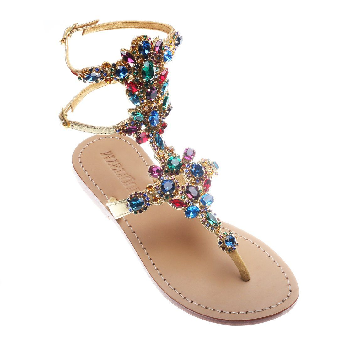 GIY Womens T-Strap Flat Sandals Ankle Buckle Gladiator Pearl Thong Flip Flop Casual Sandal Summer Beach Shoes