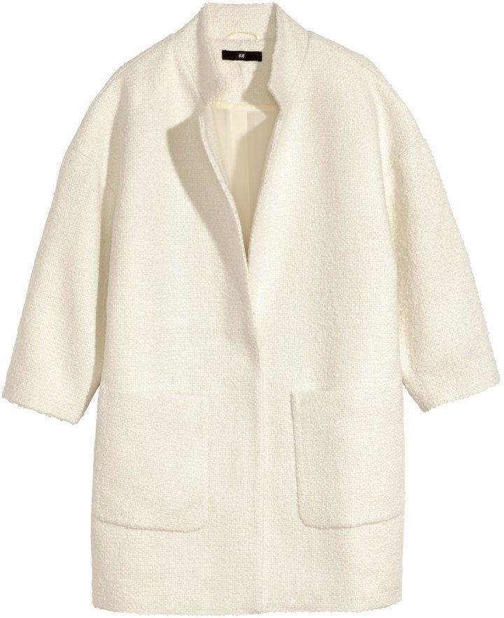 H M Boucle Coat Natural White Ladies Modestil Tuch Mantel