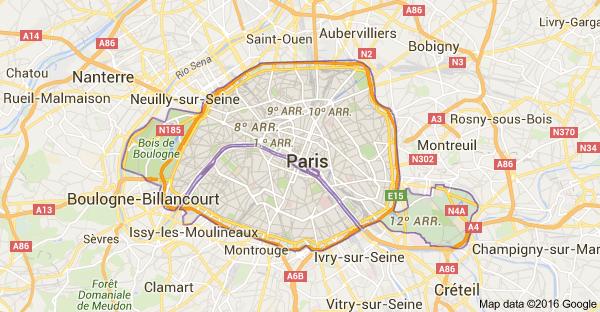 Mapa de Paris, França