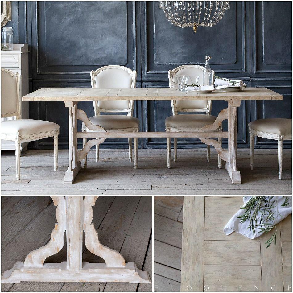 Eloquence thoreau dining table in danish white parisian decorating
