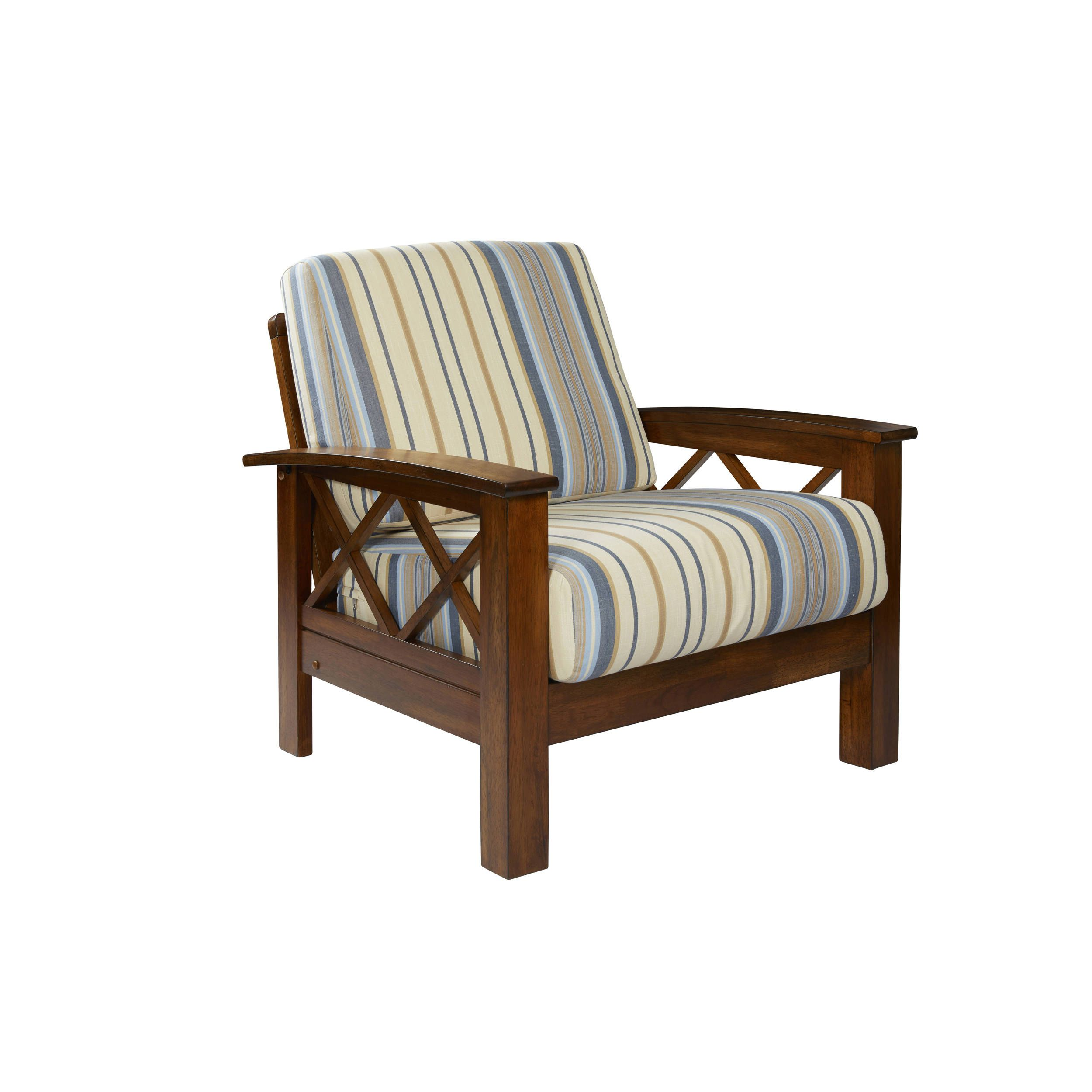 Handy Living Virginia Blue Stripe X Design Arm Chair with Exposed ...