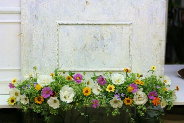 一会定期スクール9月 祭壇装花またはメインテーブル装花2 一会 ウエディングの花 テーブル 装花 ウェディング 装飾 結婚式 装花